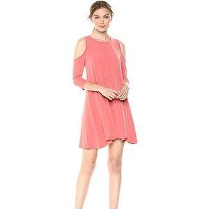 BCBG Cold Shoulder Half Sleeve Dress Coral